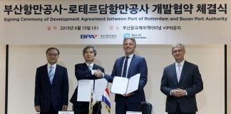 Signing warehous busan port authority distripark maasvlakte