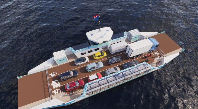 Afbeelding schip met autos
